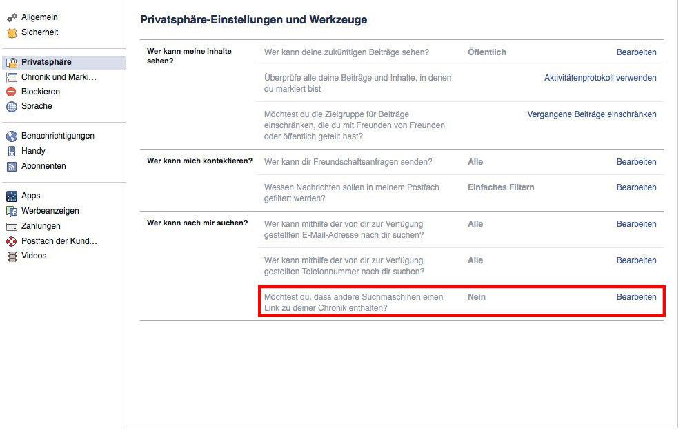 Facebook Einträge aus Google entfernen