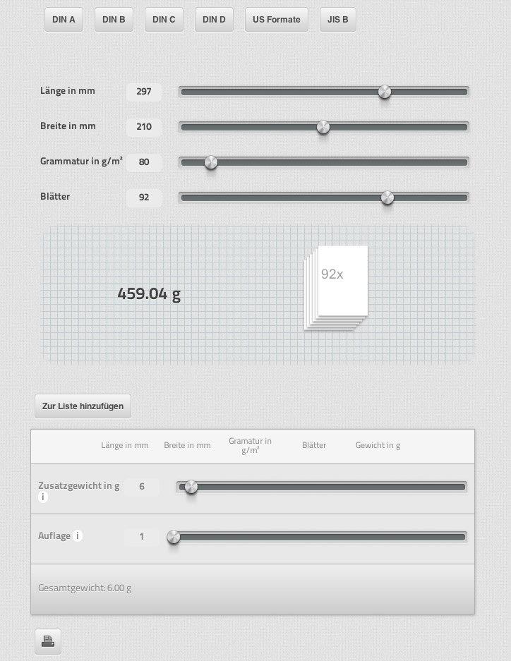 Papiergewicht Berechnen : der papiergewicht rechner der krammer rene krammer ~ Themetempest.com Abrechnung